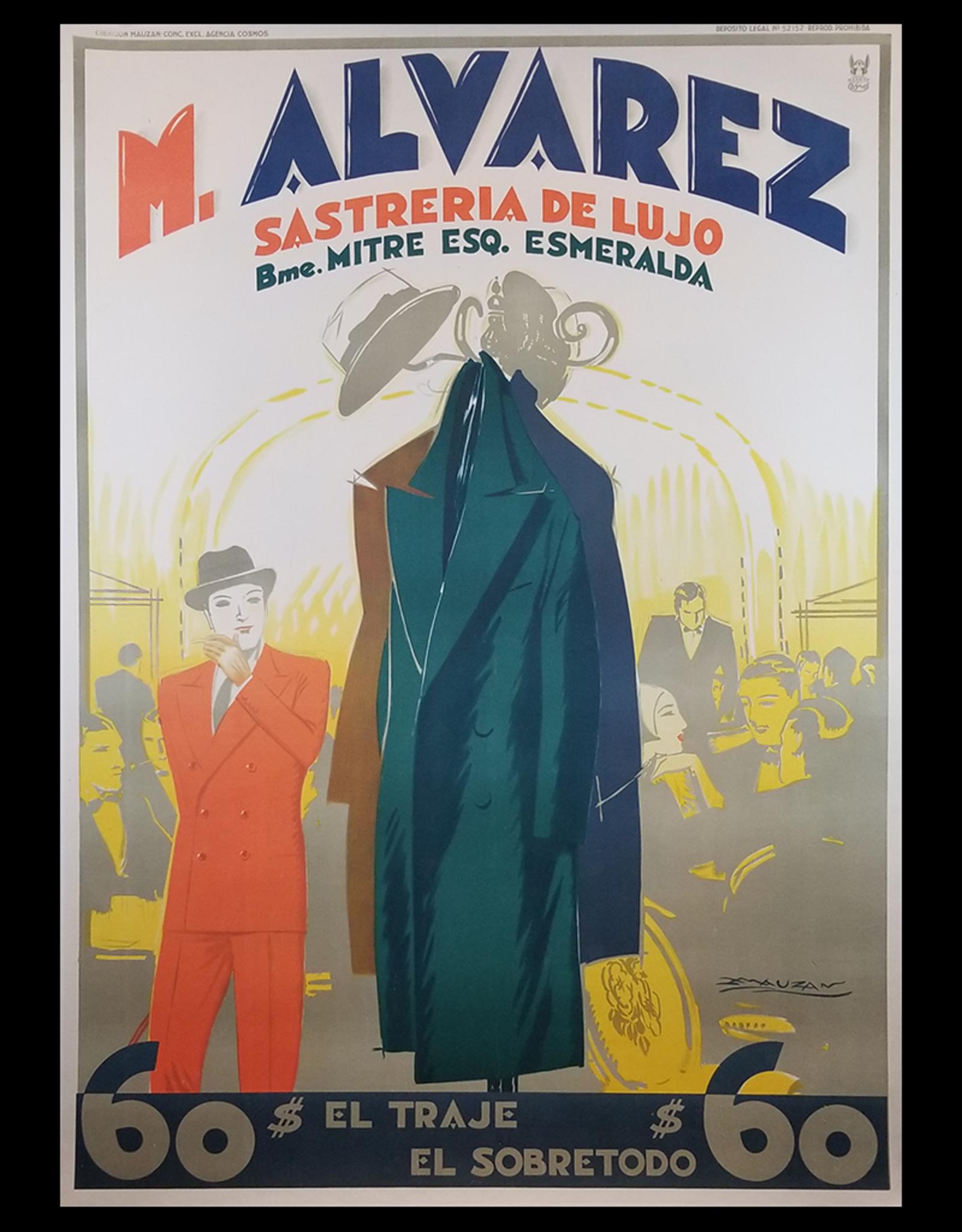 "SPV M Alverez Sasteria De Lujo """"Luxury Tailor Shop"" Lithograph Poster"