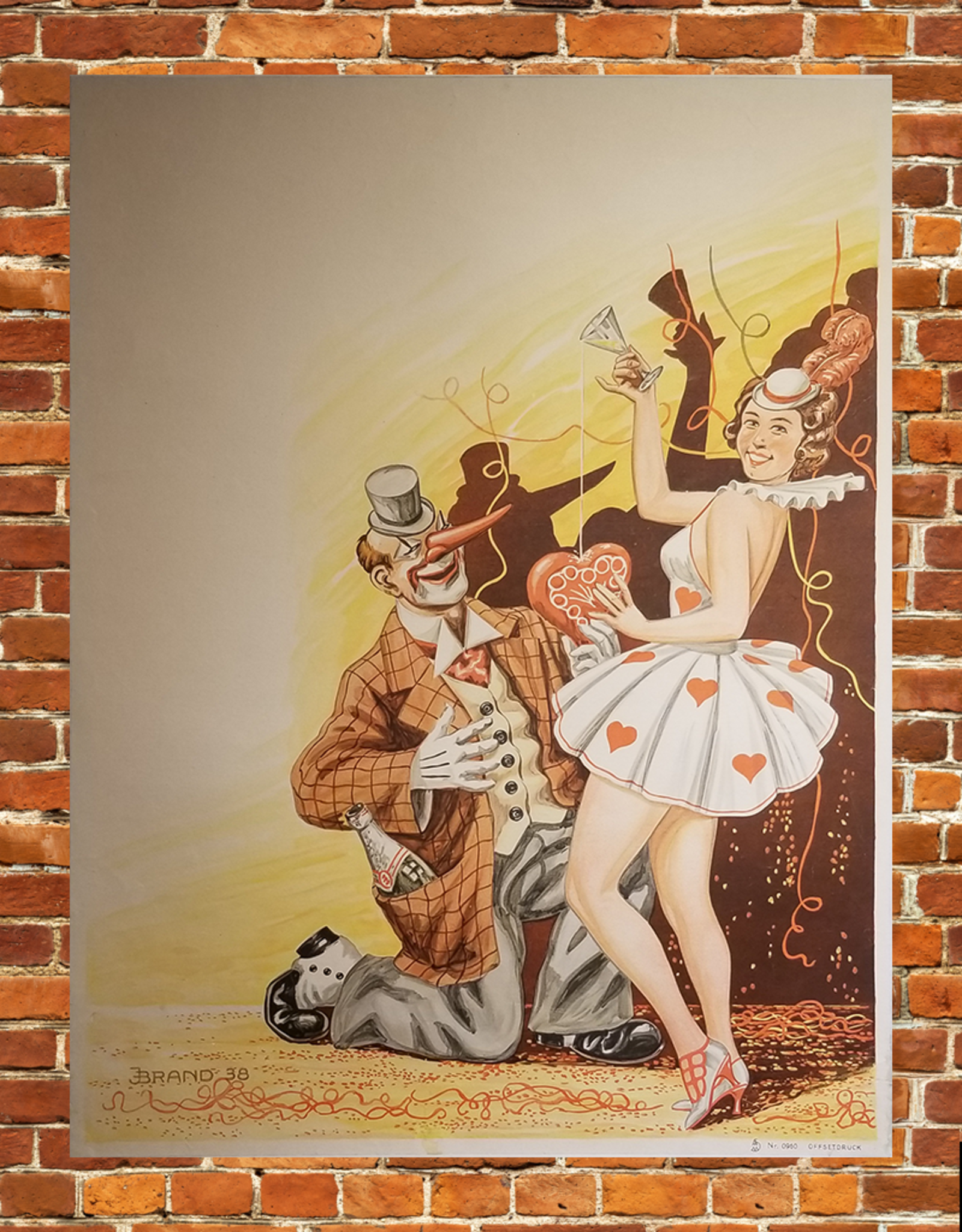SPV Clown with woman Lithograph Poster