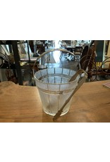SPV Clear and Frosted Glass Ice Bucket | Hammered Metal Handle with silver ice tongs