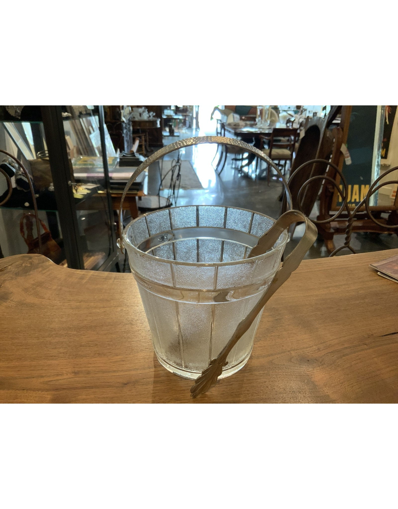 SPV Clear and Frosted Glass Ice Bucket   Hammered Metal Handle with silver ice tongs