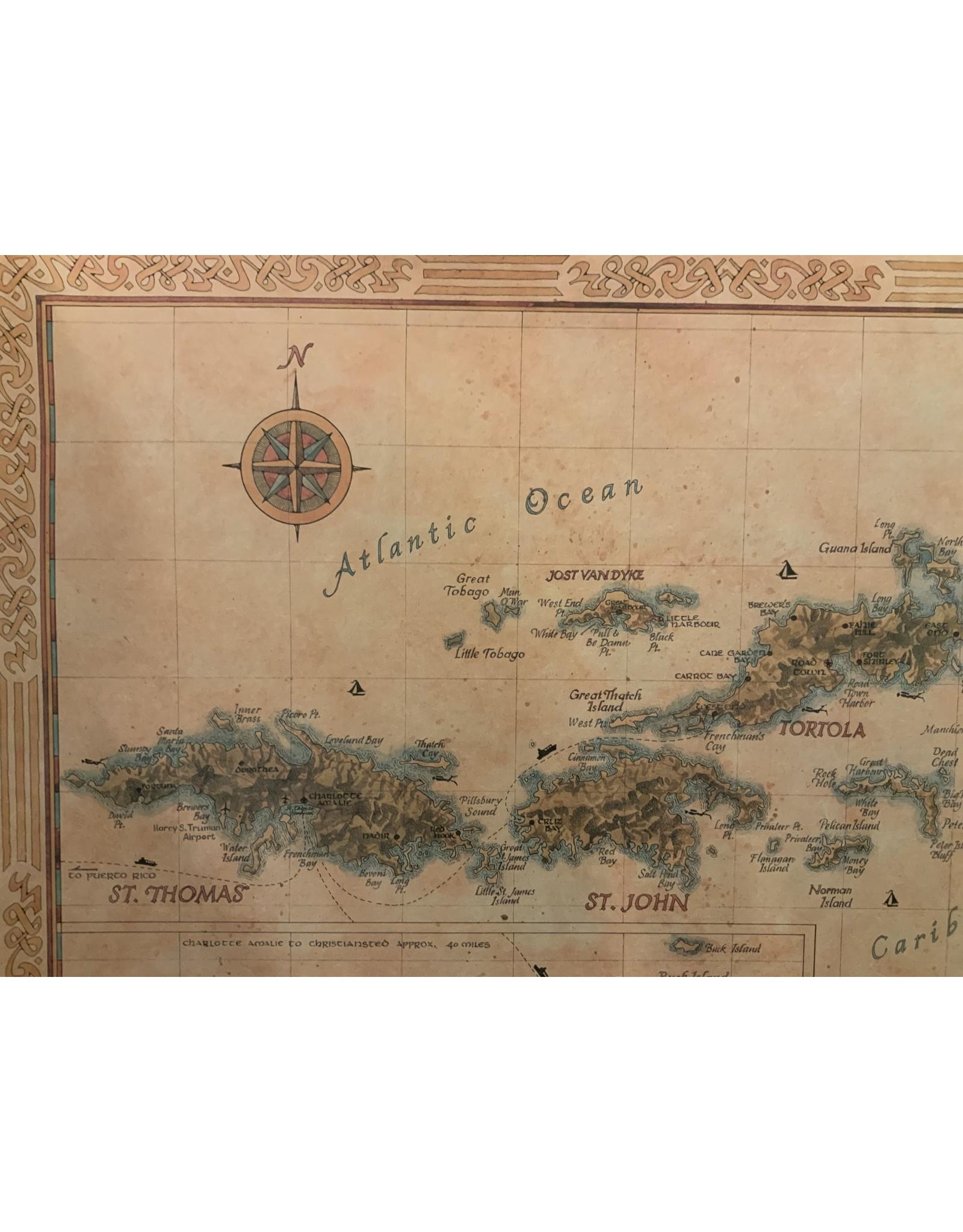 SPV Fine Art Giclee Map of the Virgin Islands