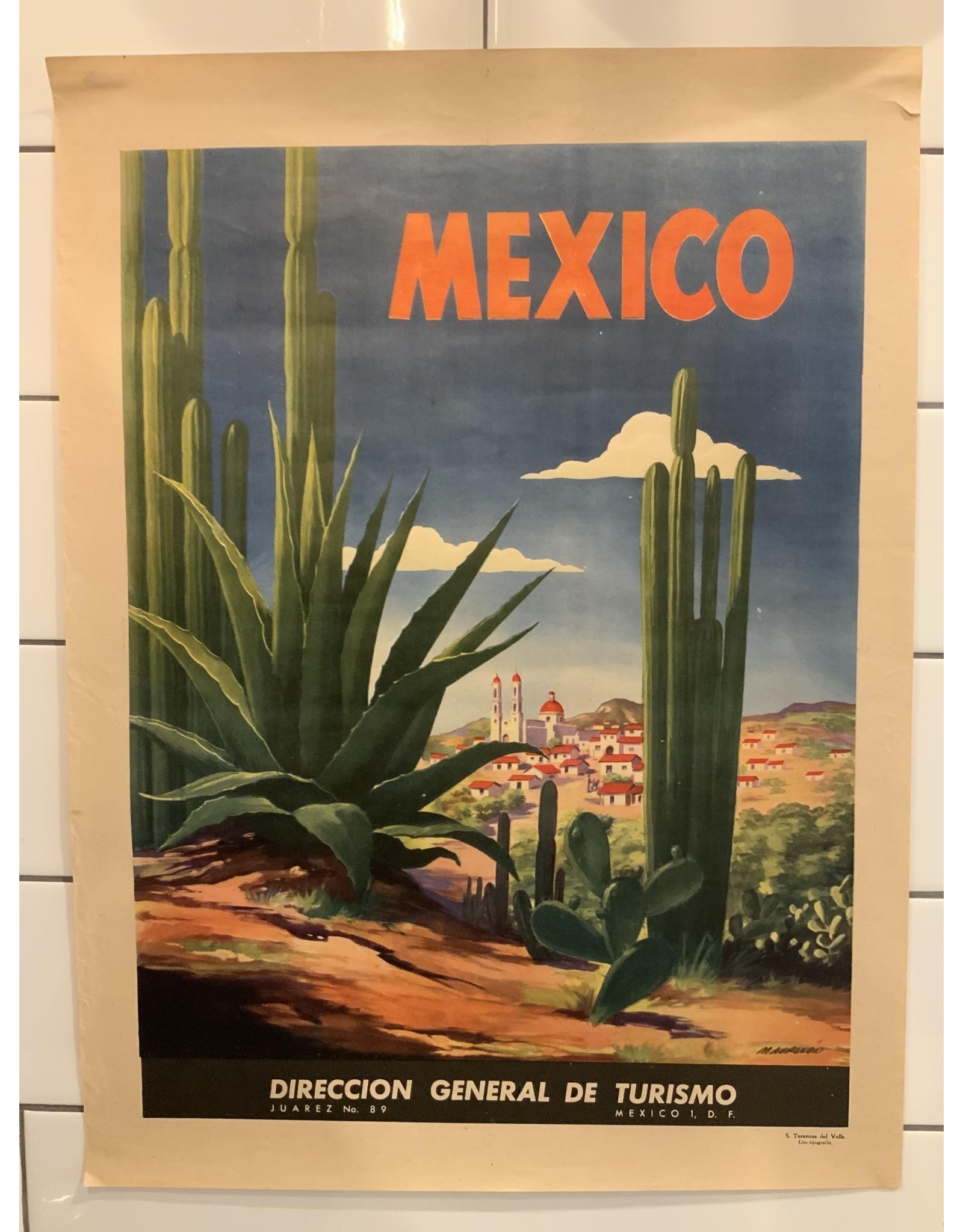 SPV 1940's Original Vintage Art Deco Cactus Mexico Travel Poster