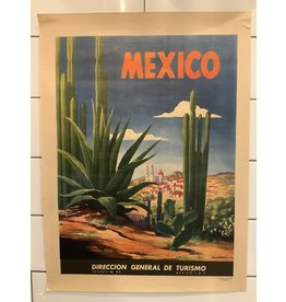 SPV 1940's Original Vintage Art Deco Cactus Mexico Travel Poster