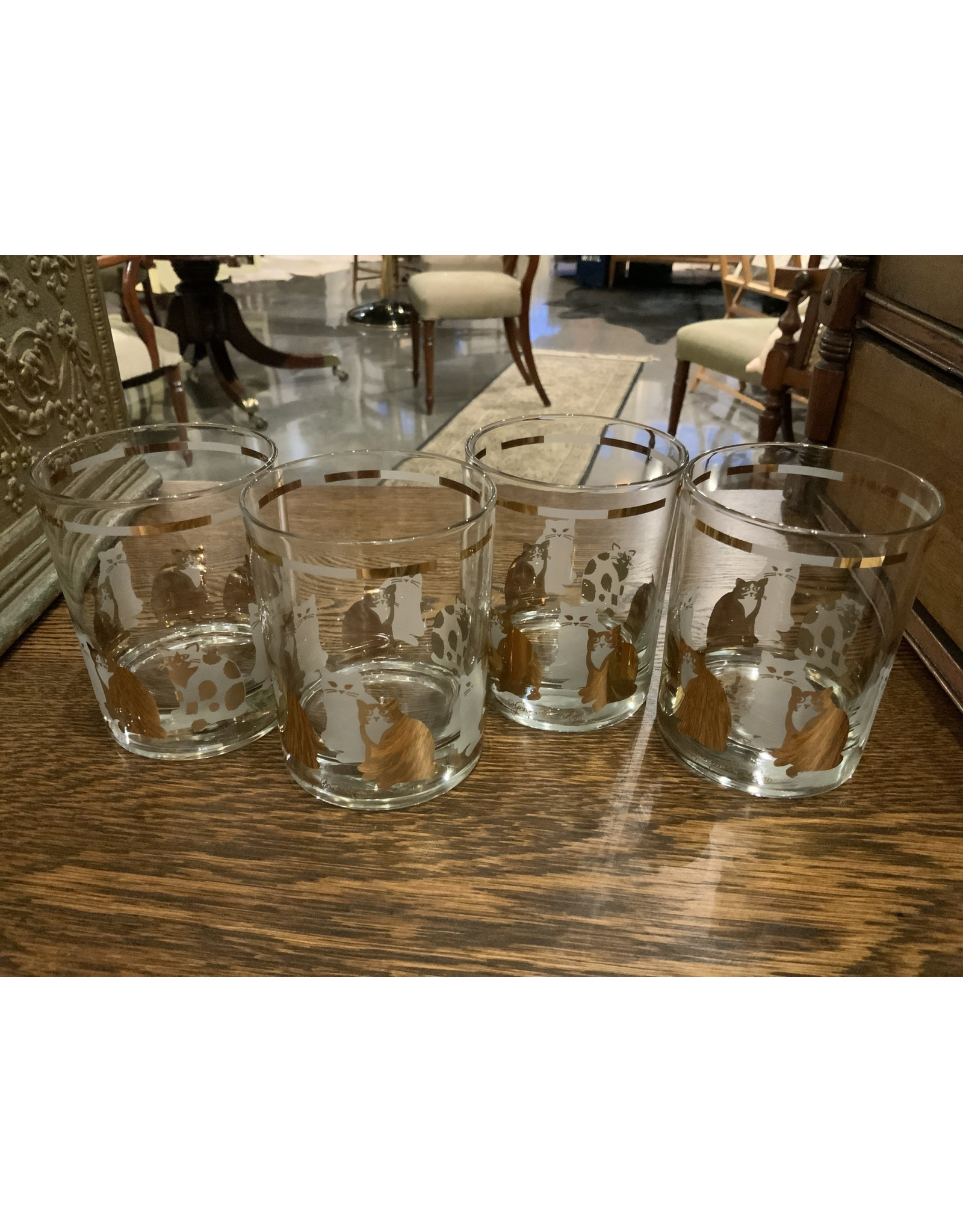 SPV MCM George Briard Cat Cocktail Glasses set of 4