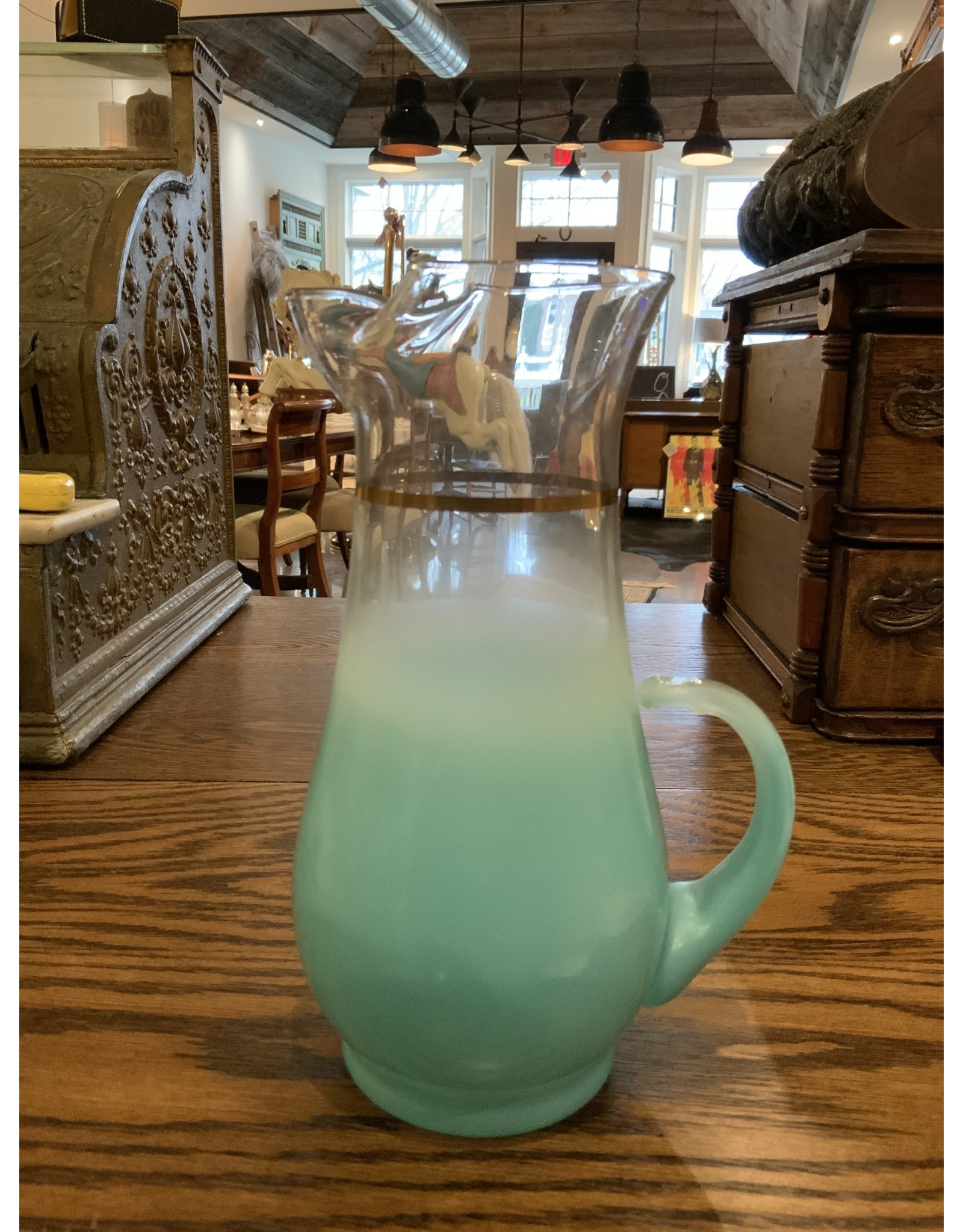 SPV Vintage Frosted Glass Pitcher with 4 glasses  BLENDO MCM Aqua Blue mid century barware