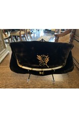 SPV Vintage Ingber Black Velvet Fold Over Clutch with White Lucite Trim, 1950s Evening Handbag Purse