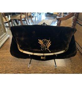 SPV Vintage Ingber Black Velvet Fold Over Clutch with White Lucite Trim, 1950s Evening Handbag Purse