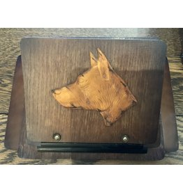 "SPV Vintage MCM wood carved dog letter holder 11""x8"""