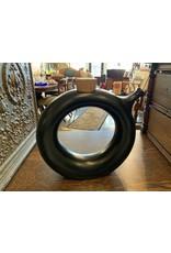 SPV mid century modern hartstone pottery round donut ceramic decanter with cork lid | wine chiller carafe pitcher