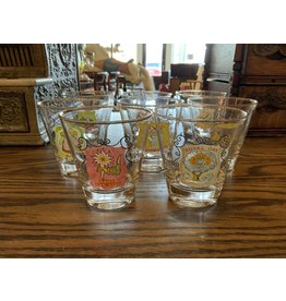 SPV Set of 8 Vintage England Pub Logo Cocktail Glasses