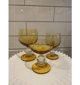 SPV Vintage MCM Amber  Ball Stem Glass Set