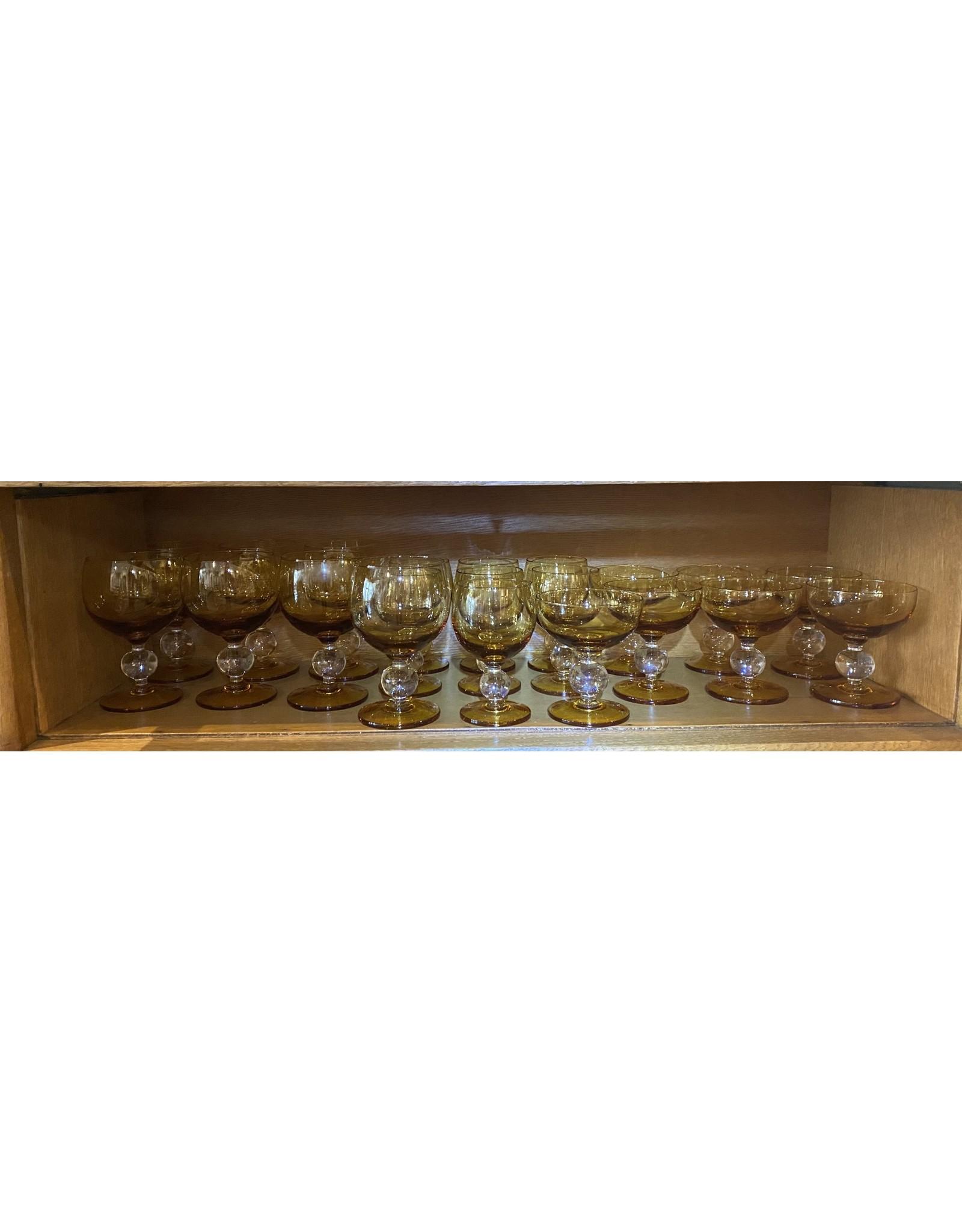 SPV Vintage MCM Amber  Ball Stem Glass Set
