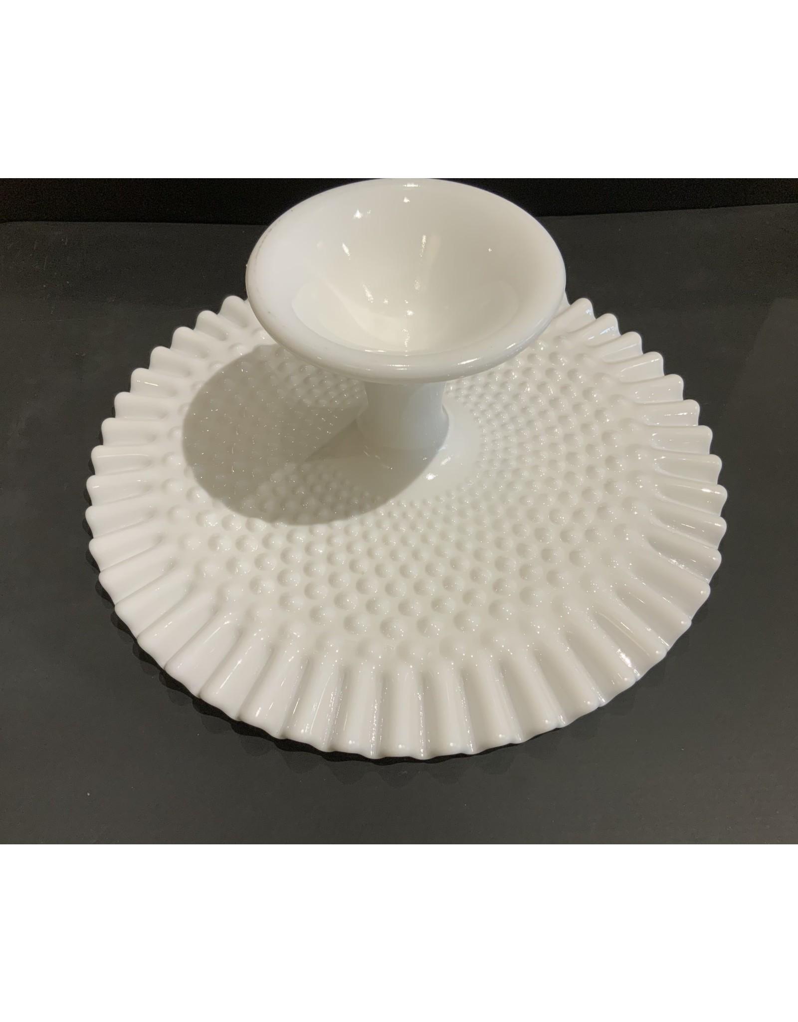 SPV Fenton Hobnail milk glass pedestal cake stand