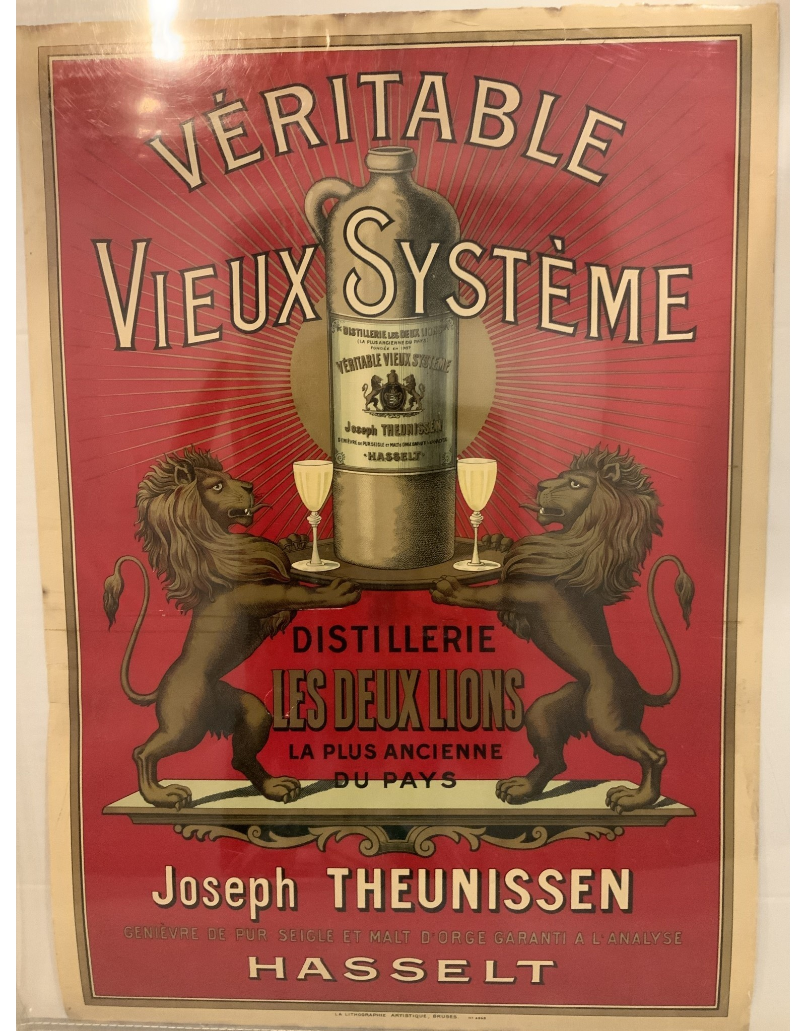 SPV Interieuraffiche 'Véritable Vieux Système, Distillerie les Deux Lions, Joseph Theunissen, Hasselt' voor stokerij Joseph Theunisssen, Hasselt, ca. 1910