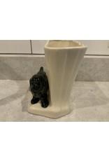 SPV Roseville RRP Black Cocker Spaniel with Cream-colored Vase  No.1302
