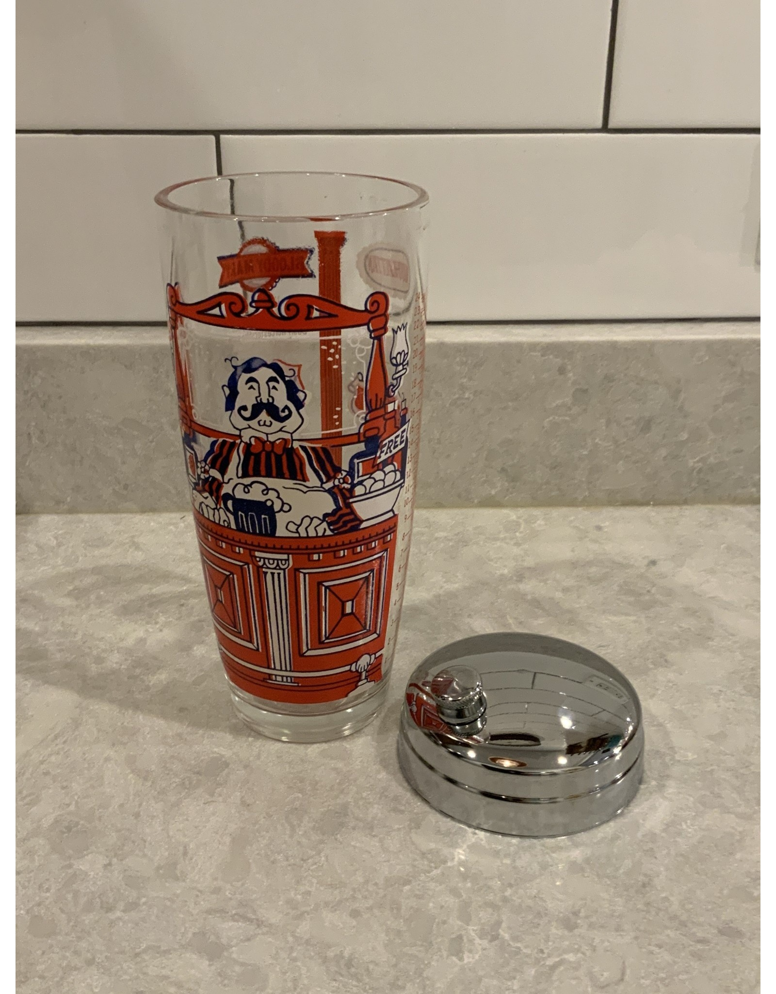 SPV Vintage mid century cocktail shaker with cocktail recipes