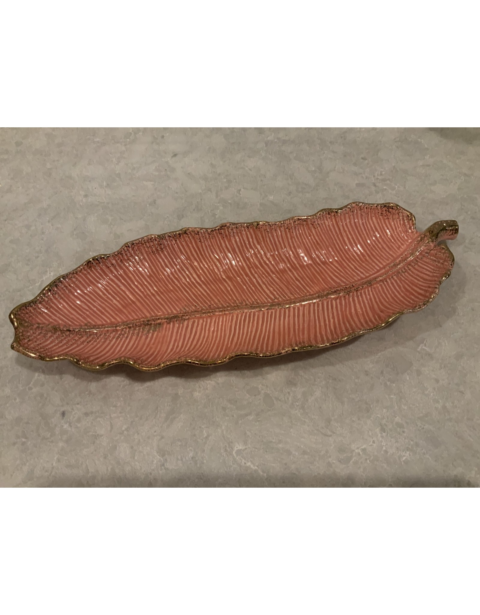 SPV Mid Century Modern California Pottery Coral and Gold Leaf Platter
