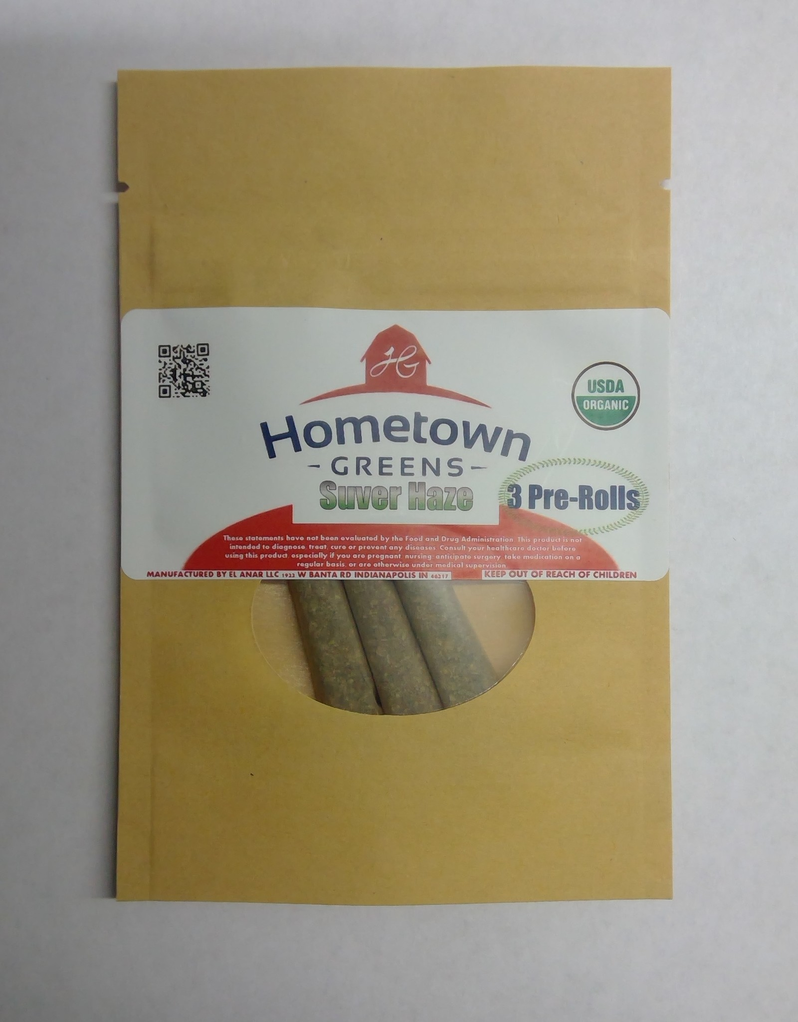 Hometown Greens Suver Haze Hemp Flower - Pack of 3 Pre-Rolls (2.4g)