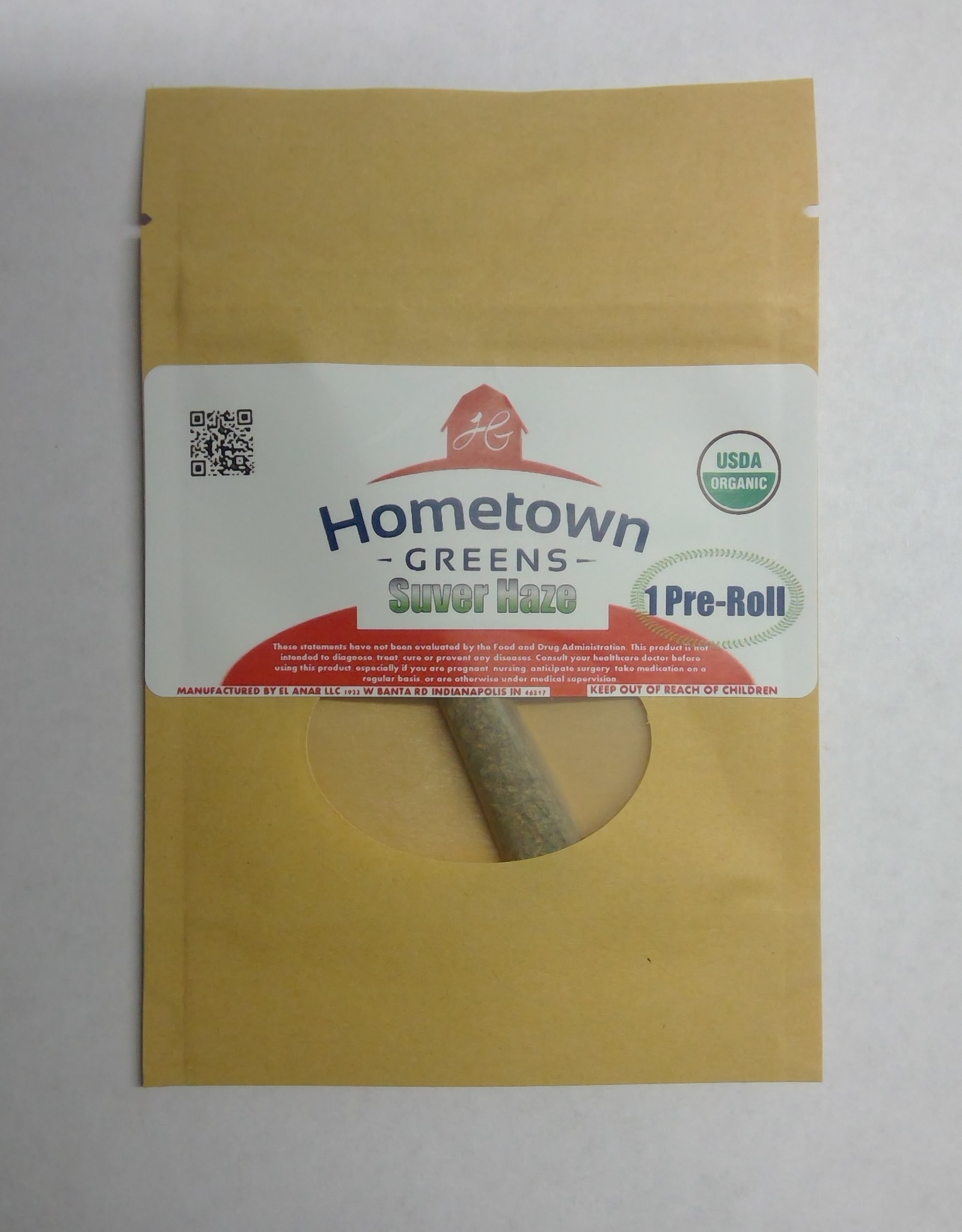 Hometown Greens Suver Haze Hemp Flower - Single Pre-Roll (0.8g)