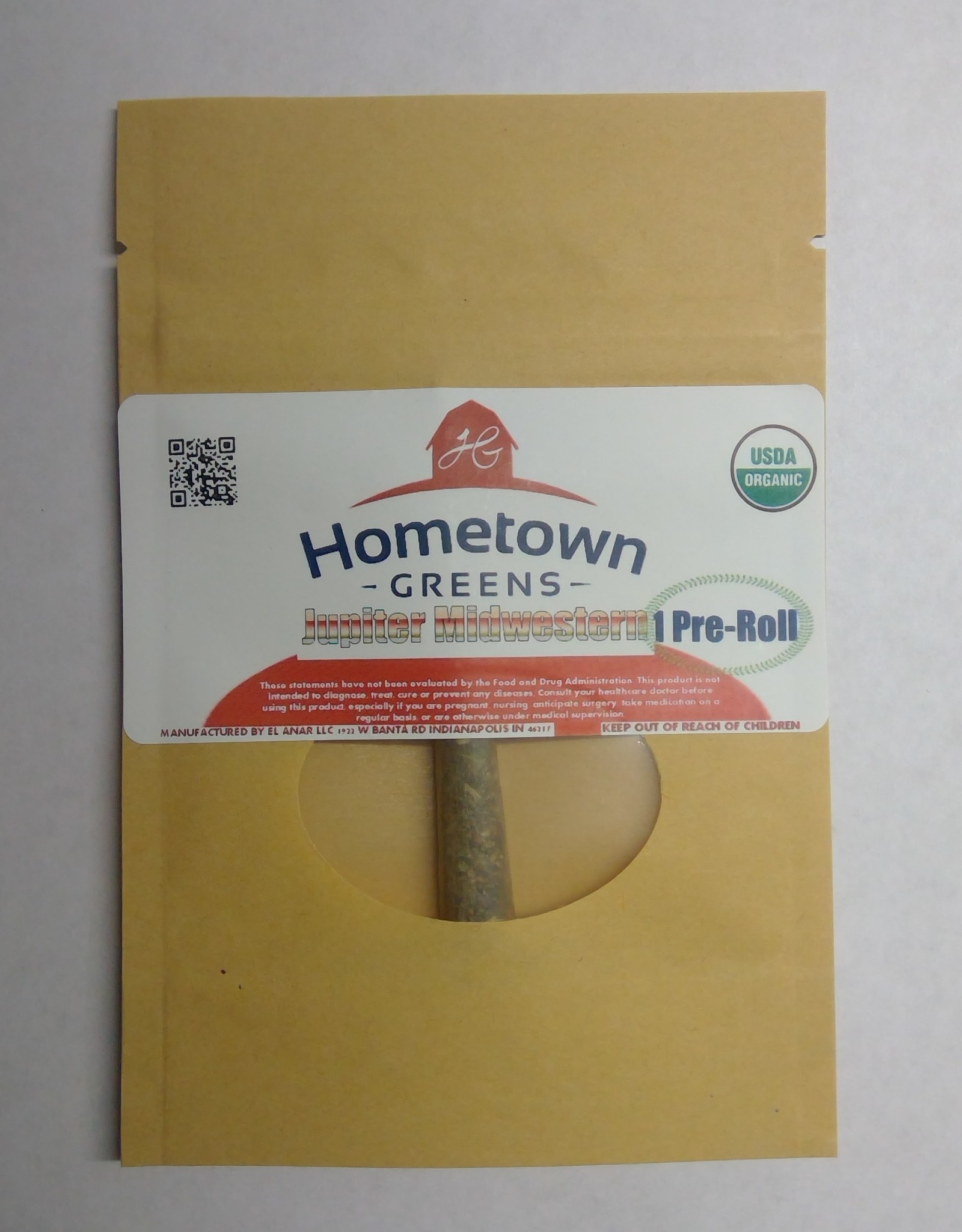 Hometown Greens Jupiter Midwestern Hemp Flower - Single Pre-Roll (0.8g)