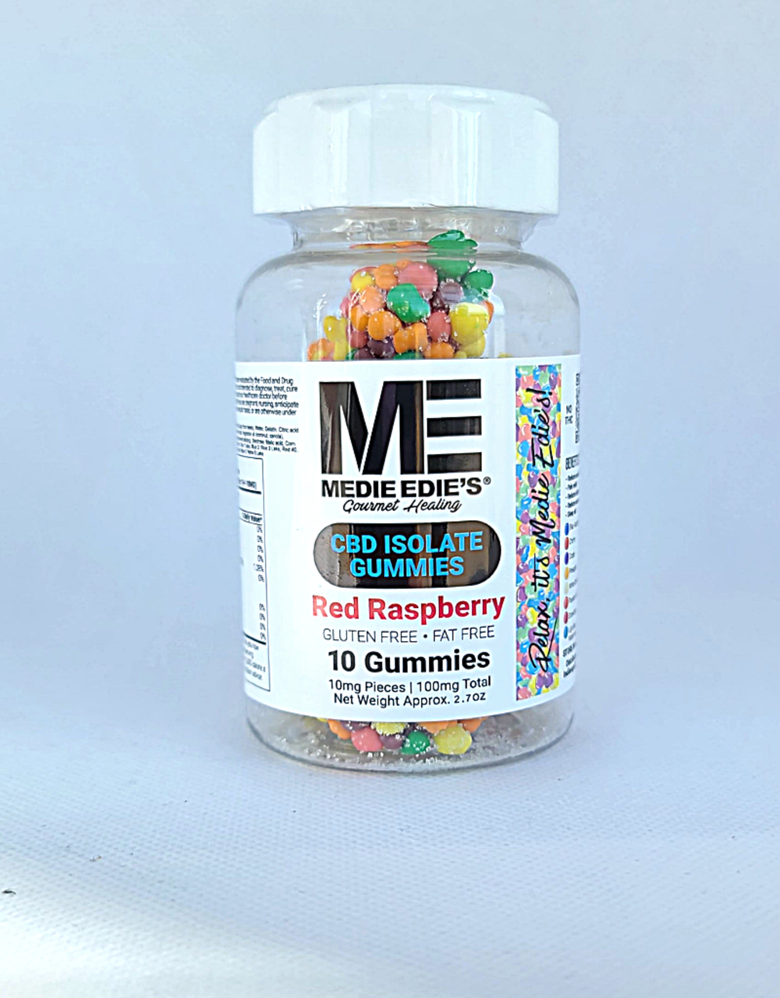 Medie Edie's Pebbled Red Raspberry CBD Gummies - 10ct/10mg/100mg