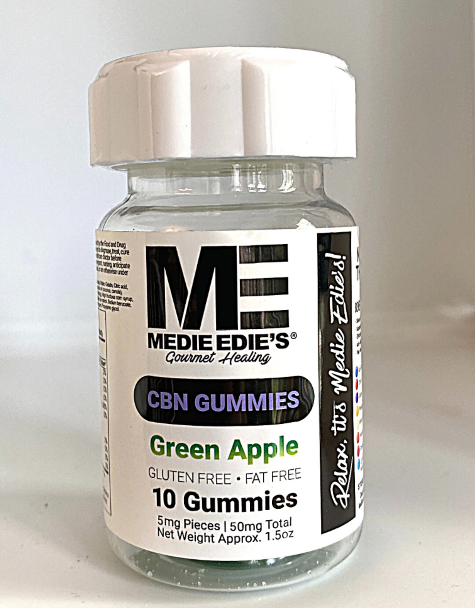 Medie Edie's Medie Edie's 10ct CBN Gummies Green Apple-5mg.50mg