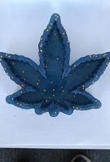 Elite Health and Wellness Large Cannabis Leaf Resin Dish Blue