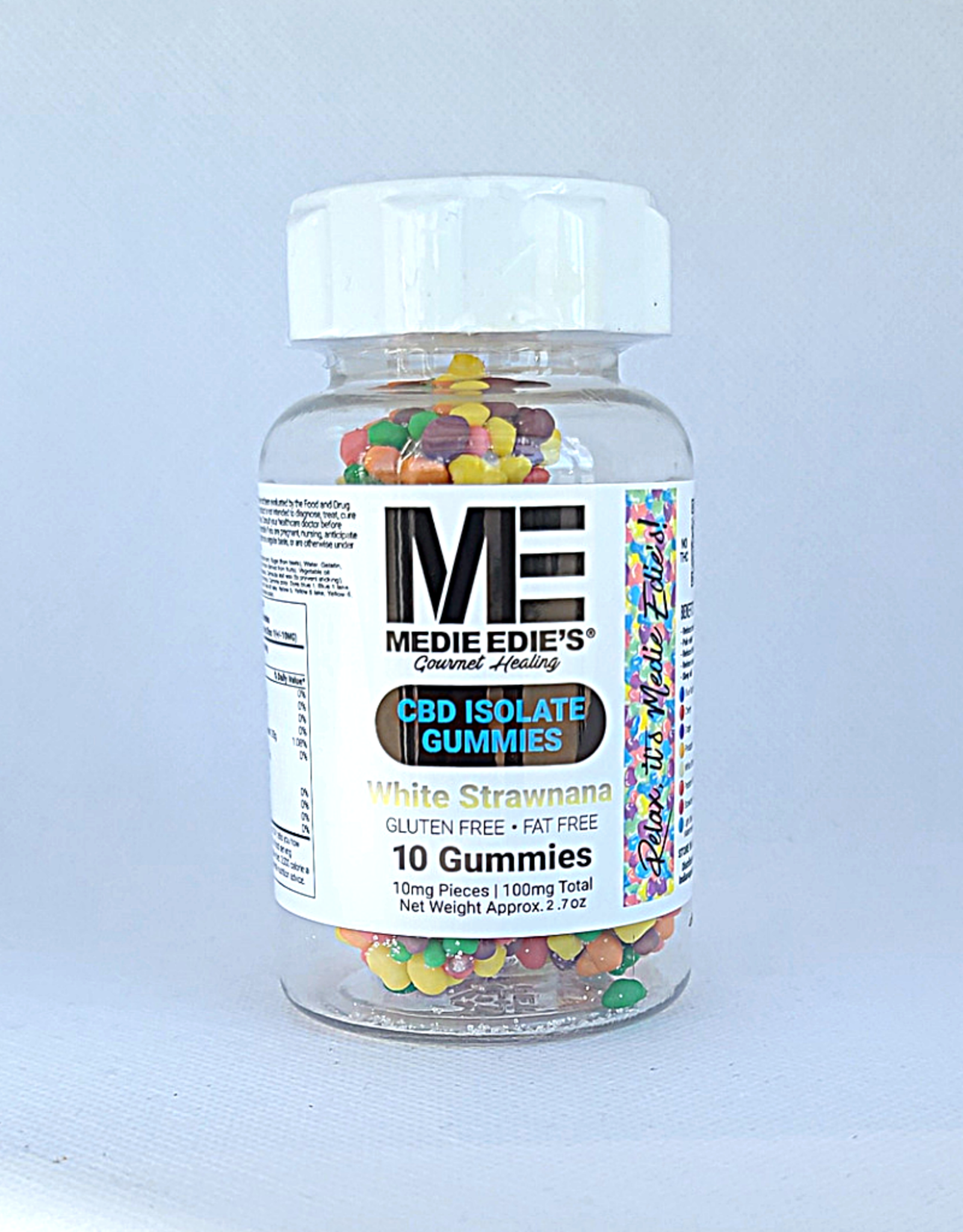 Medie Edie's Pebbled White Strawnana CBD Gummies - 10ct/10mg/100mg