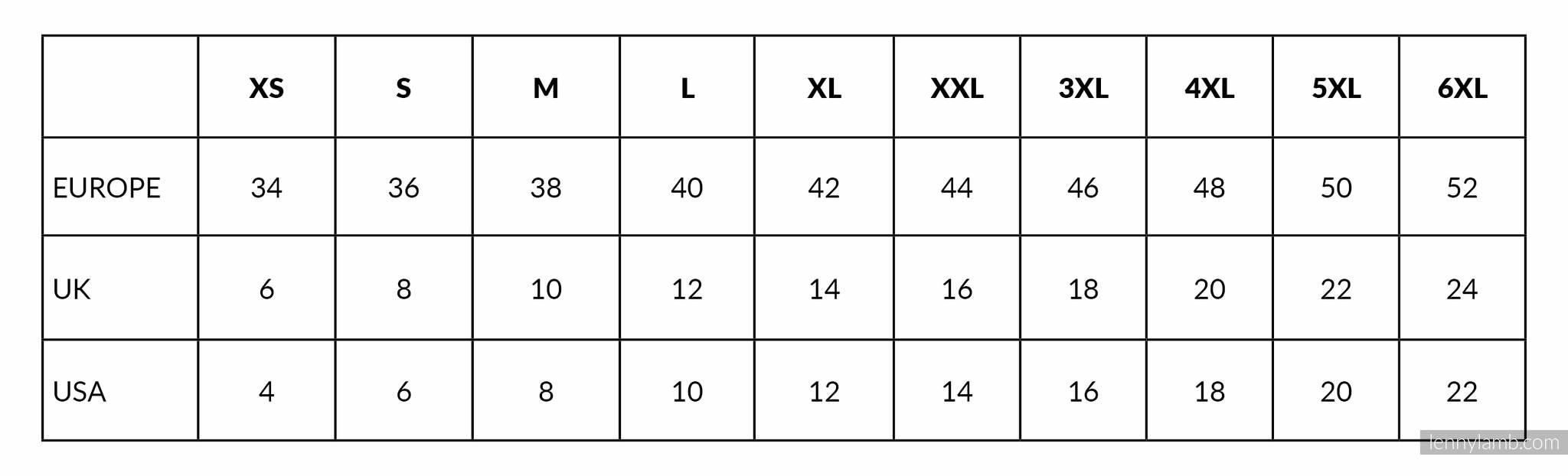 Lenny Lamb Sweatshirt sizing chart