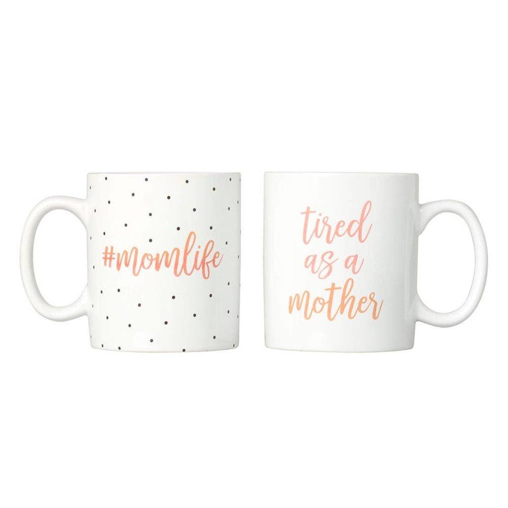 #Momlife and Tired as a Mother Polka Dot Mug Set