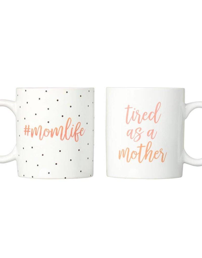 Kate & Milo #Momlife and Tired as a Mother Polka Dot Mug Set