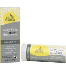 Earth Mama Organics Lady Face Mineral Sunscreen Face Stick SPF 40 - Earth Mama Organics