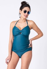 Seraphine Teal Knot Front Maternity Swimwear Tankini - Seraphine