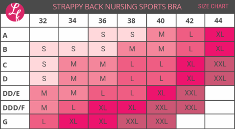Size chart for the Strappy Back Nursing Bra from Love and FIt
