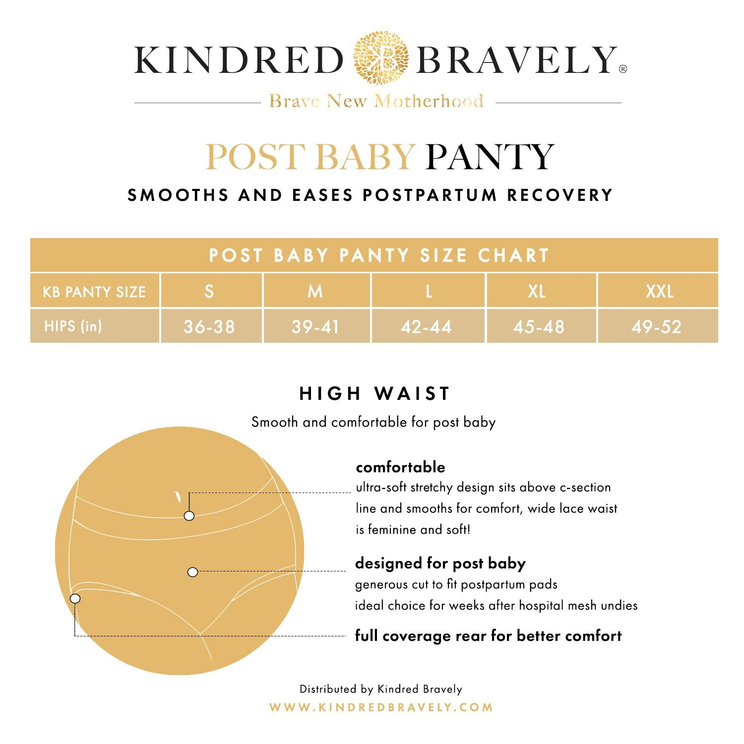 size chart for Kindred Bravely postpartum panties