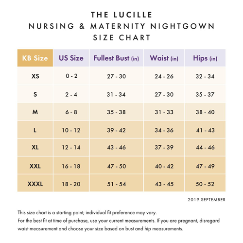 Lucille Nightgown size chart from Kindred Bravely