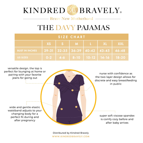 Davy Pajamas from Kindred Bravely Size Chart