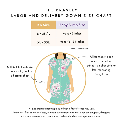 The Bravely Labor and Delivery Gown Size Chart