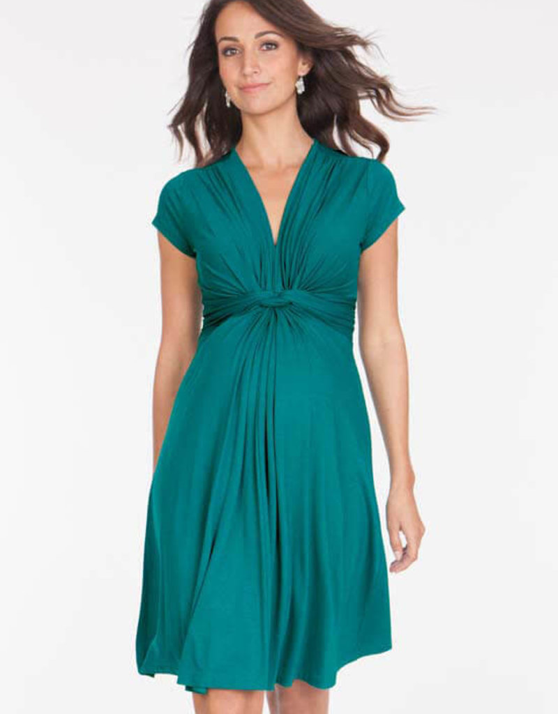 Seraphine Knot Front Short Sleeve Knit Maternity Dress