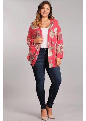 Chris and Carol Floral Knit Plus Size Kimono