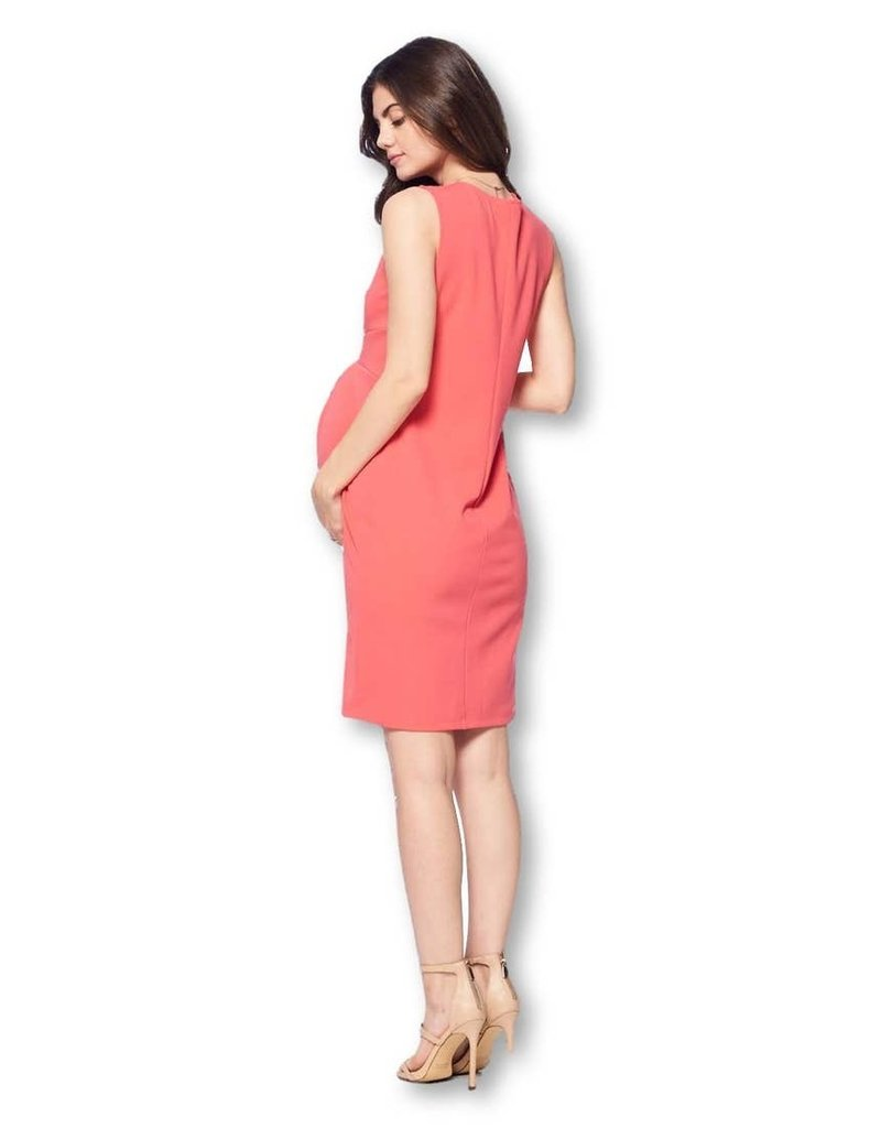 Star Motherhood Front Pleated Knee Length Maternity Dress