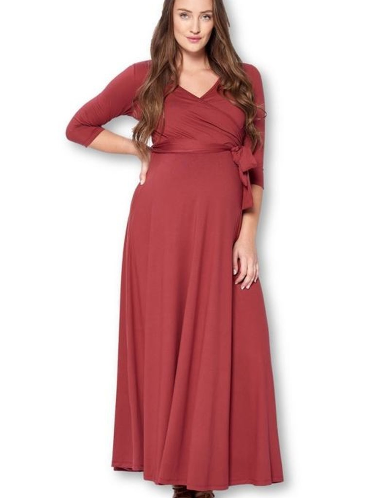 Star Motherhood 3/4 Sleeve Wrapped Ruched Maternity Dress