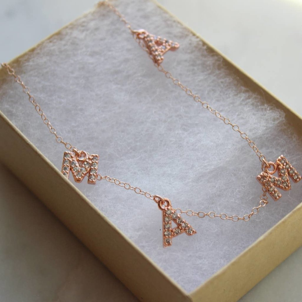 Laalee Jewelry Crystal Mama Necklace Rose Gold
