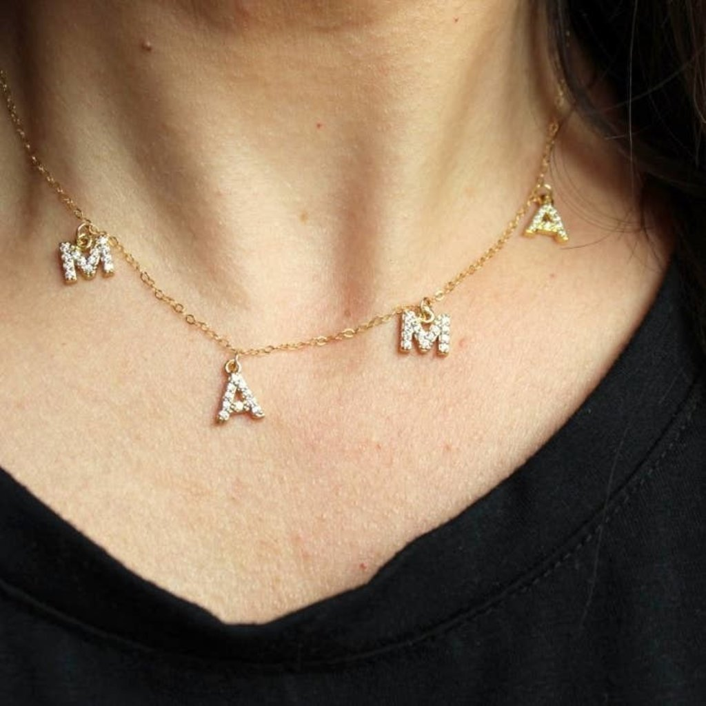Laalee Jewelry Crystal Mama Necklace Gold