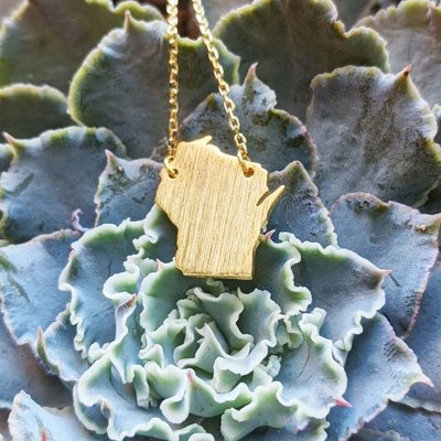 Fame Accessories Wisconsin State Necklace - Gold