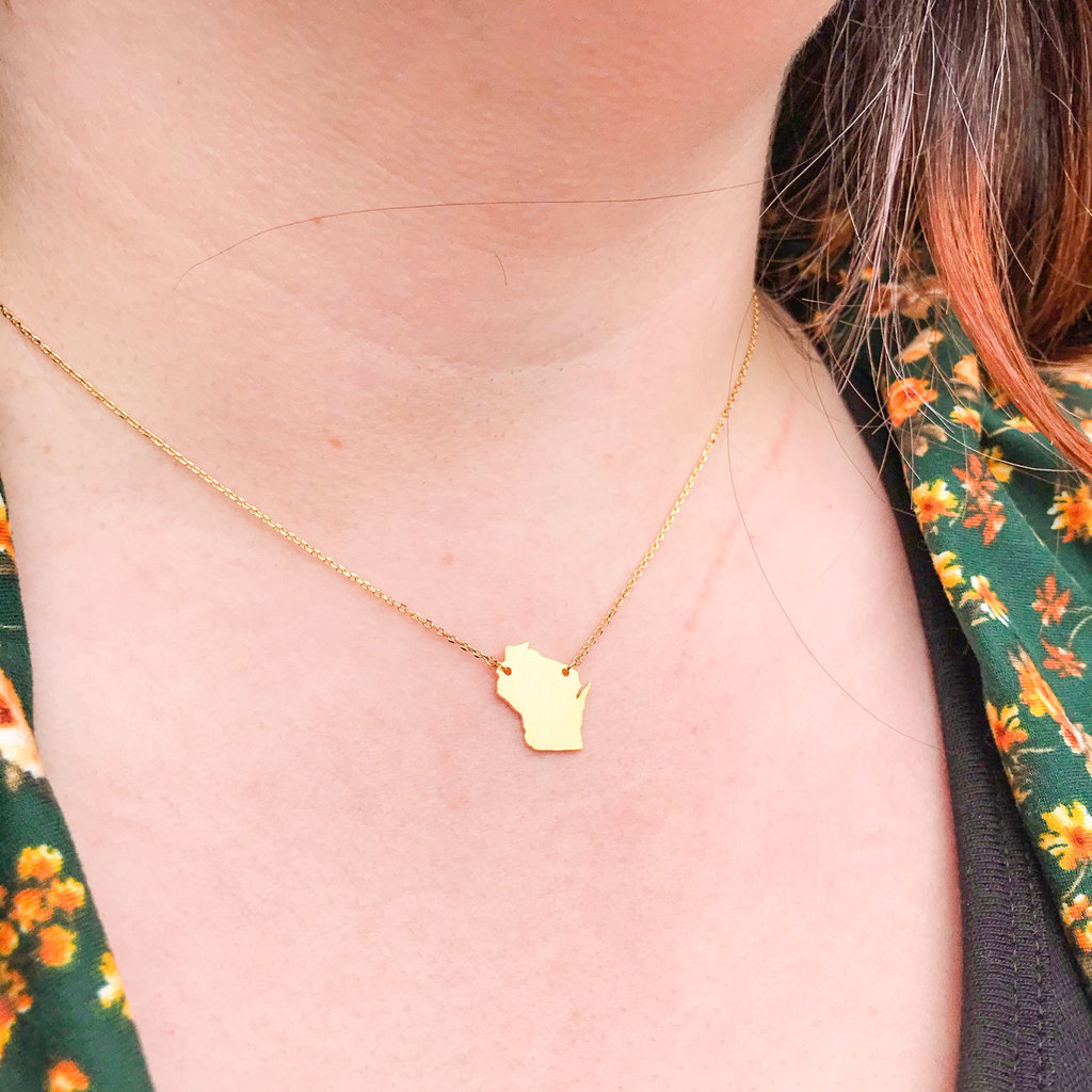 Fame Accessories Wisconsin State Necklace - Gold Tone