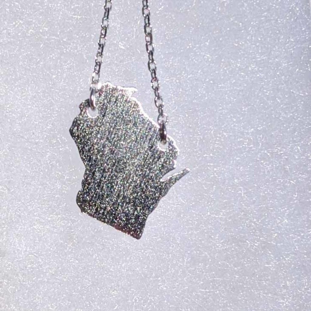 Fame Accessories Wisconsin State Necklace - Silver Tone