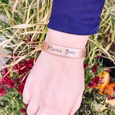 Prep Obsessed Rose Gold Mama Bear Leather Bracelet