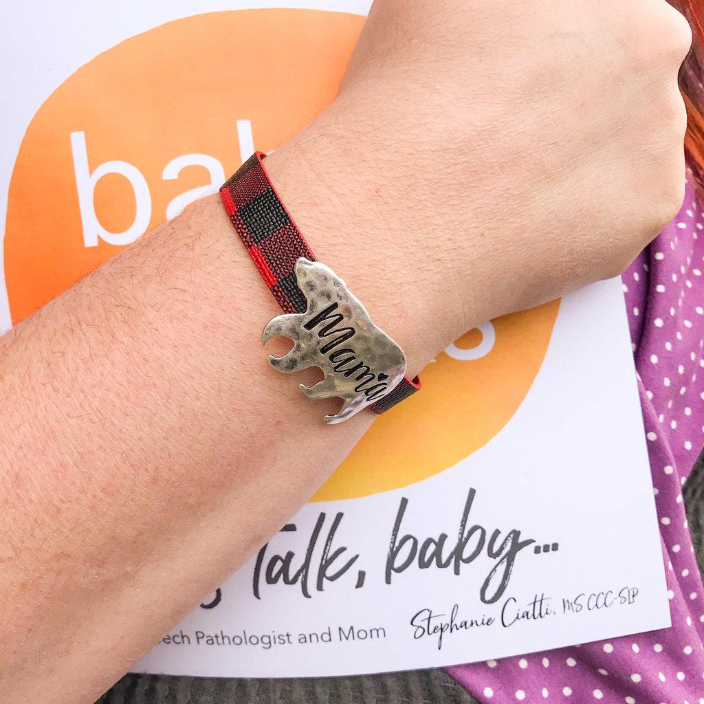 Prep Obsessed Mama Bear Buffalo Check Bracelets