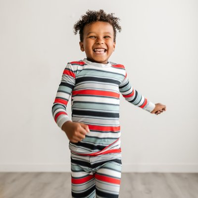 Little Sleepies Winter Stripes Two-Piece Bamboo Pajama Set